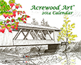 2014 Fine Art Wall Calendars, from original pen & ink by Wayne Bricco, Acrewood Art