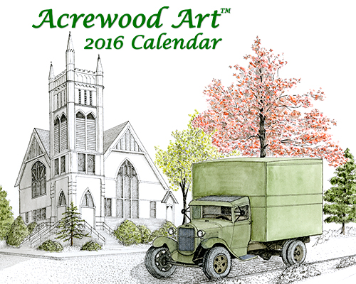 2016 Willamette Valley Fine Art Wall Calendar, with drawings from Original Pen & Ink by Wayne Bricco, Acrewood Art