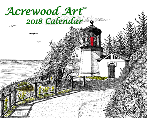 Pacific Northwest Lighthouses Fine Art Wall Calendar, with drawings from Original Pen & Ink by Wayne Bricco, Acrewood Art