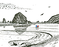 Alissa's Beach, from original pen & ink by Wayne Bricco, Acrewood Art