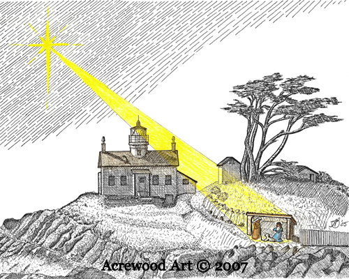 A Battery Point Christmas, from original pen & ink by Wayne Bricco, Acrewood Art