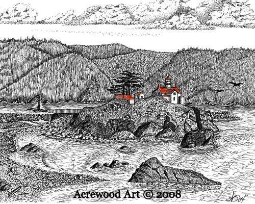 Battery Point Lighthouse II, from original pen & ink by Wayne 						Bricco, Acrewood Art