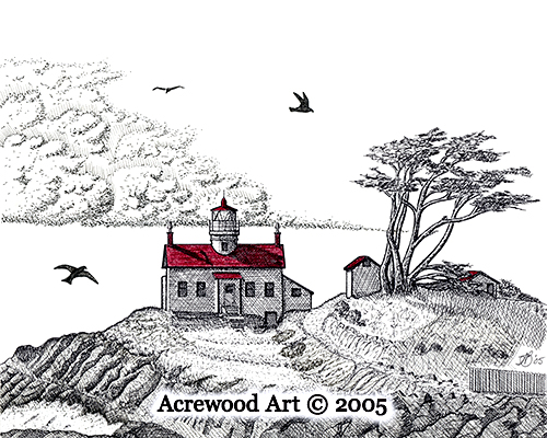 Battery Point Lighthouse III, from original pen & ink by Wayne Bricco, Acrewood Art
