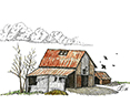 Brightwood Barn, from original pen & ink by Wayne Bricco, Acrewood Art