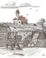 Cape Arago Lighthouse, from original pen & ink by Wayne Bricco, Acrewood Art