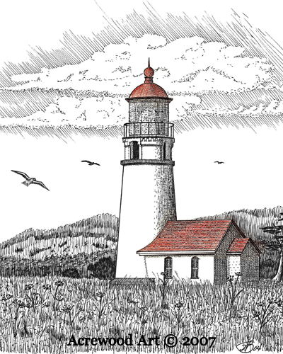 Cape Blanco Lighthouse, from original pen & ink by Wayne Bricco, Acrewood Art