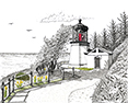 Cape Meres Lighthouse from original pen & ink by Wayne Bricco, Acrewood Art