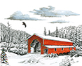 Christmas at the Office, from original pen & ink by Wayne Bricco, Acrewood Art