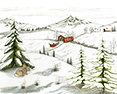 Christmas in the Country, from original pen & ink by Wayne Bricco, Acrewood Art