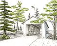 Crawfordsville Bridge, from original pen & ink by Wayne Bricco, Acrewood Art