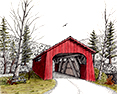 Drift Creek Bridge, from original pen & ink by Wayne Bricco, Acrewood Art