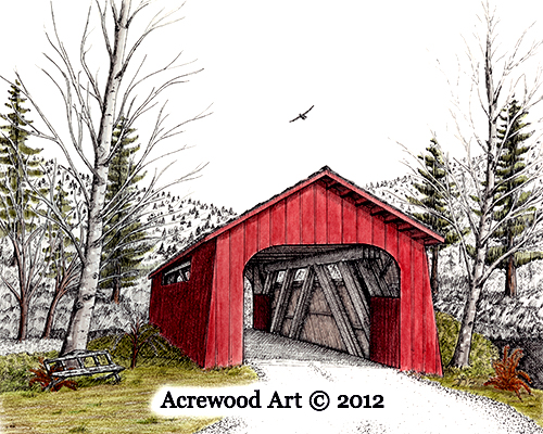 Drift Creek Covered Bridge, from original pen & ink by Wayne Bricco, Acrewood Art