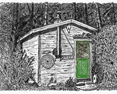 Ed's Shed, from original pen & ink by Wayne Bricco, Acrewood Art