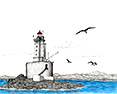 Lighthouses Gallery, from original pen & ink by Wayne Bricco, Acrewood Art