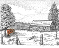 Grandpa's Tractor, from original pen & ink by Wayne Bricco, Acrewood Art
