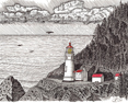 Heceta Head Lighthouse, from original pen & ink by Wayne Bricco, Acrewood Art