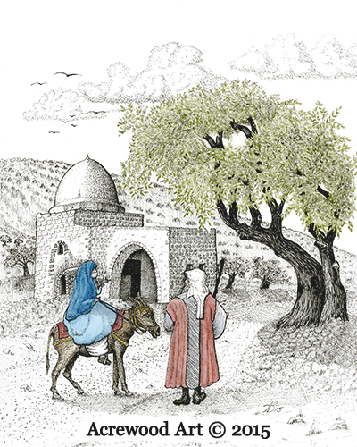Journey to Bethlehem, from original pen & ink by Wayne Bricco