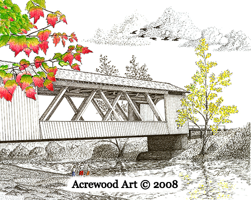 Larwood Bridge, from original pen & ink by Wayne Bricco, Acrewood Art