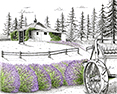 Lavender Joy, from original pen & ink by Wayne Bricco, Acrewood Art