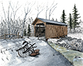 Lost Creek Bridge from original pen & ink by Wayne Bricco, Acrewood Art