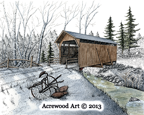 Lost Creek Covered Bridge, from original pen & ink by Wayne Bricco, Acrewood Art