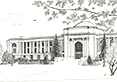 Memorial Union, from original pen & ink by Wayne Bricco, Acrewood Art