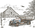 Ol' Blue, from original pen & ink by Wayne Bricco, Acrewood Art