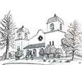 Old Laurelhurst Church, from original pen & ink by Wayne Bricco, Acrewood Art