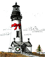 Oregon Coast Christmas, from original pen & ink by Wayne Bricco, Acrewood Art