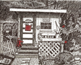 The Potting Shed, from original pen & ink by Wayne Bricco, Acrewood Art