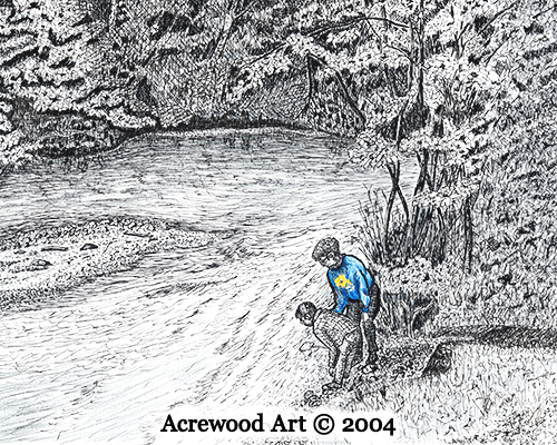 Rowdy Creek Field Trip, from original pen & ink by Wayne Bricco