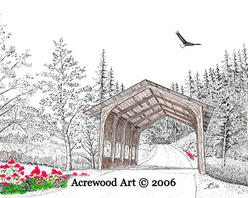 Sheep Pen Creek Bridge, from original pen & ink by Wayne Bricco, Acrewood Art