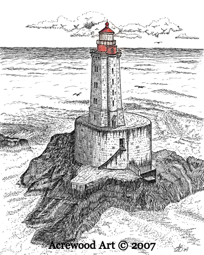 St. George Reef Lighthouse, from original pen & ink by Wayne Bricco, Acrewood Art
