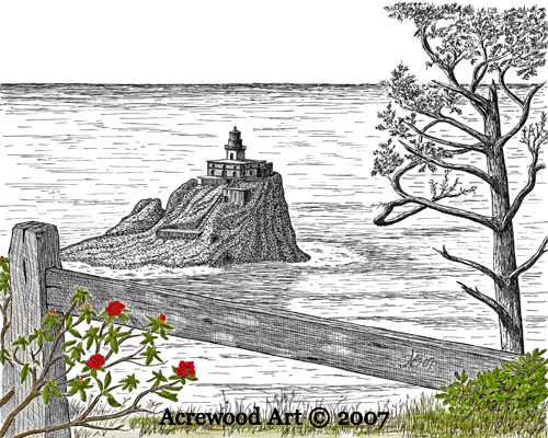 Tillamook Rock Lighthouse, from original pen & ink by Wayne Bricco, Acrewood Art