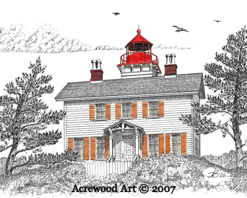 Yaquina Bay Lighthouse, from original pen & ink by Wayne Bricco, Acrewood Art
