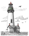 Yaquina Head Lighthouse I, from original pen & ink by Wayne Bricco, Acrewood Art